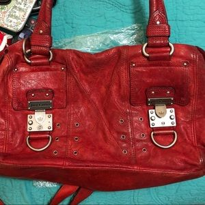 Red leather juicy purse